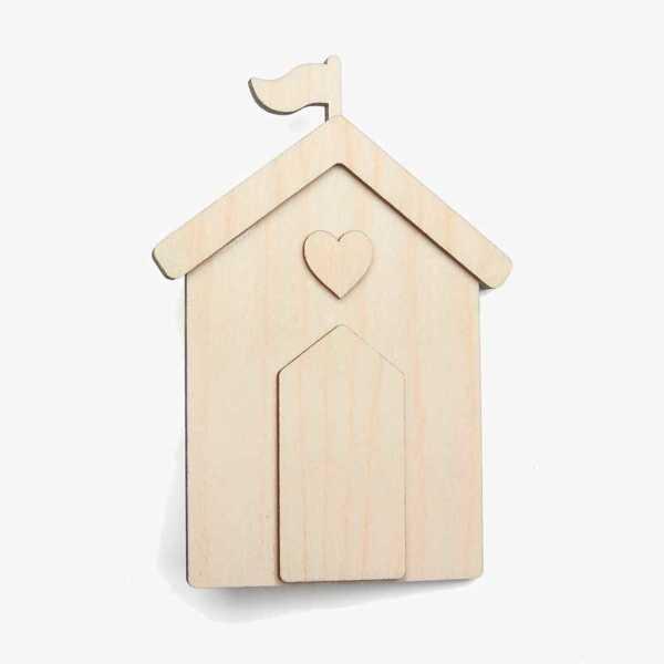 Wooden Birch Plywood Beach Hut Craft Shape Kit