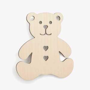 Wooden Bear With Hearts Teddy Craft Shape Blank