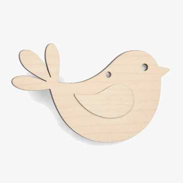 Wooden Robin With Wing Christmas Decoration Craft Shape