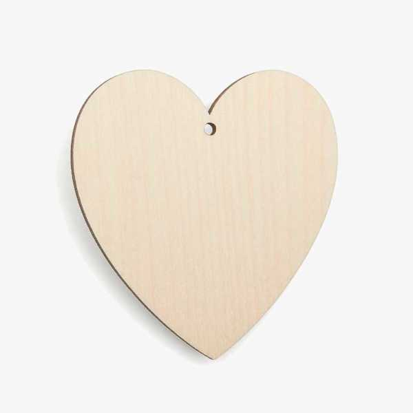 Wooden Birch Plywood Classic Heart With Hole Blank Craft Shape