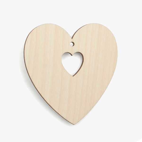 Wooden Birch Plywood Heart With Heart Cutout Craft Shape