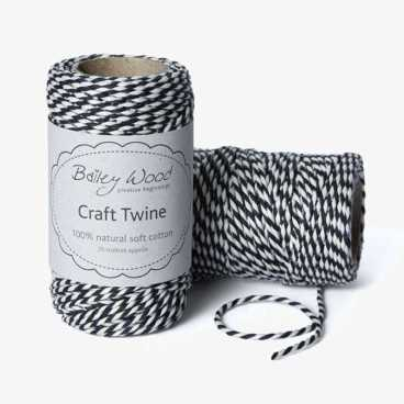 Charcoal - Cotton Stripe Twine
