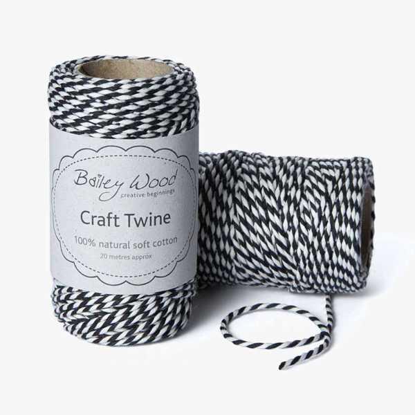 Charcoal - Cotton Stripe Twine