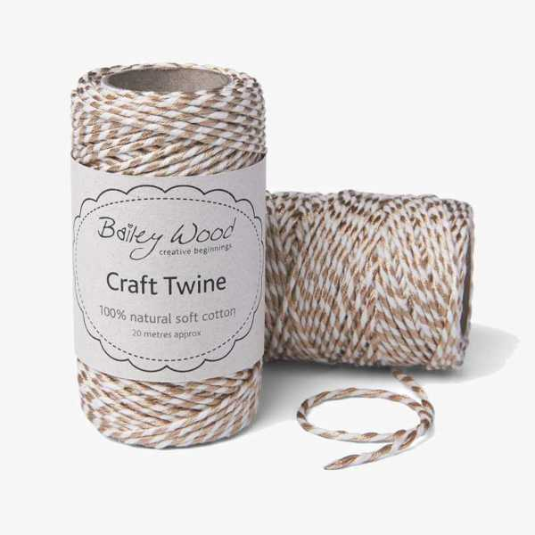 Gold Metallic - Cotton Stripe Twine