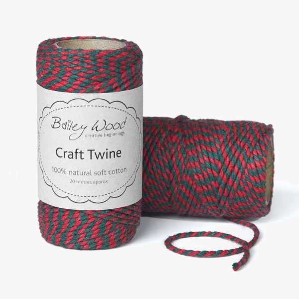 Red & Green - Cotton Stripe Twine