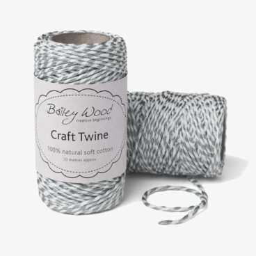Silver Metallic - Cotton Stripe Twine