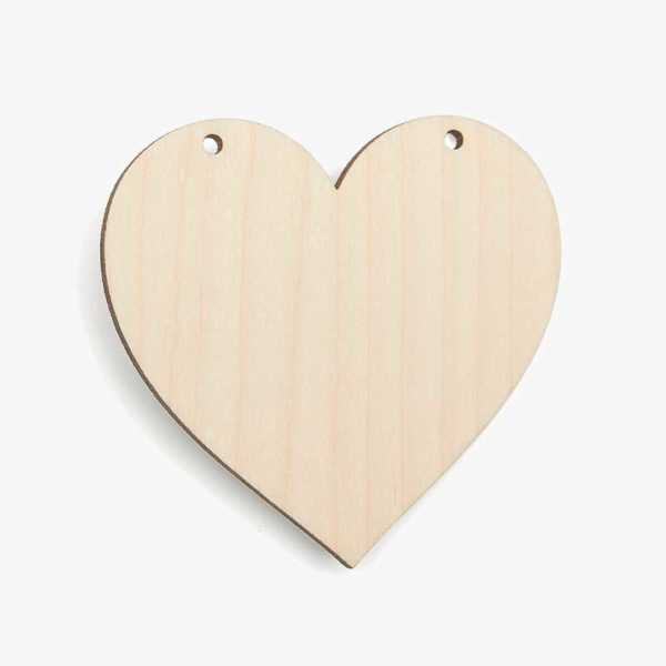 Wooden Birch Plywood Heart With 2 Holes Craft Shape