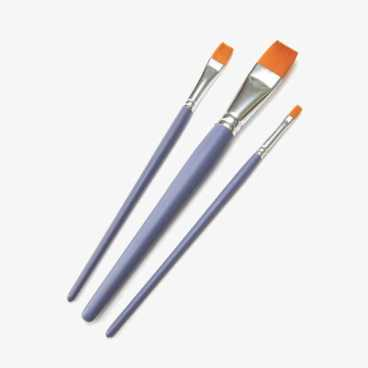 Craft Paint Brushes - 3 Flat