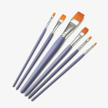Craft Paint Brushes - 6 Flat