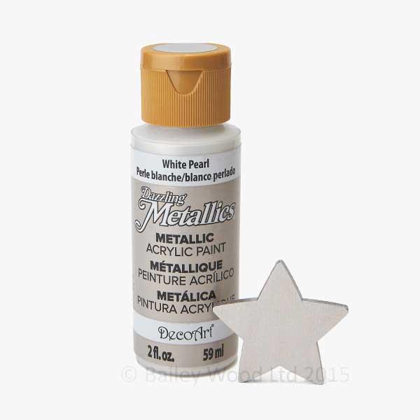 White Pearl Decoart Metallic Paint Bailey Wood