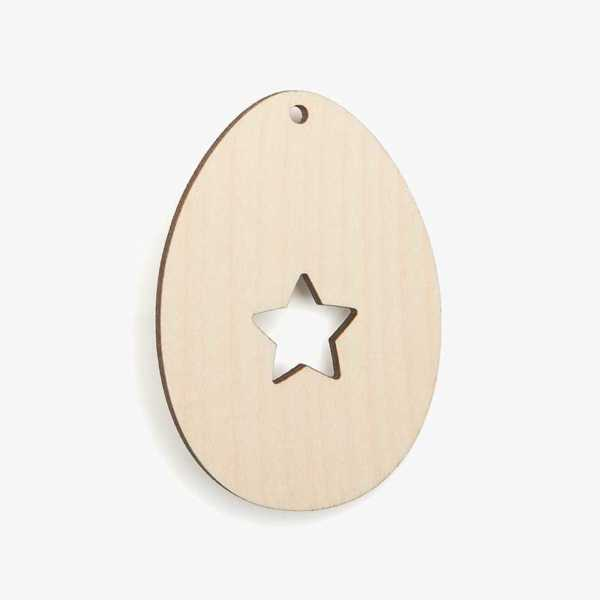 Wooden Egg with Star Craft Shapes