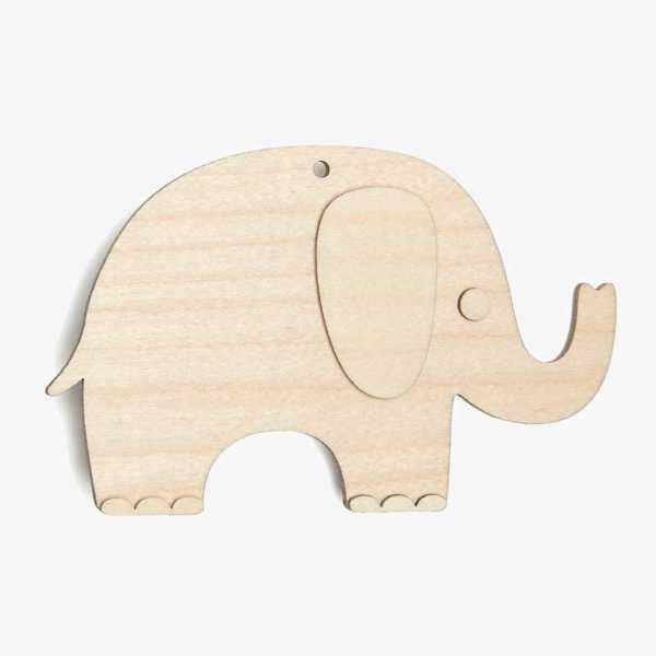 Wooden Birch Plywood Elephant Craft Shape Kit