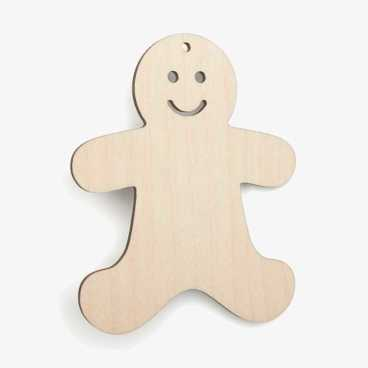 Wooden Gingerbread With Face Christmas Decoration Craft Shape
