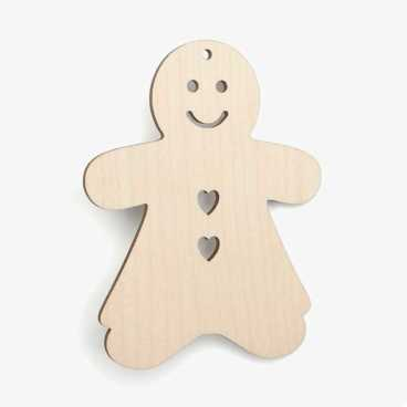 Wooden Gingerbread Girl Christmas Decoration Craft Shape