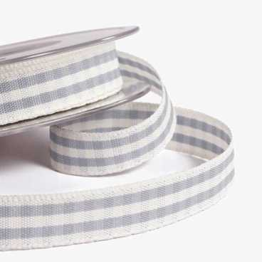 Grey Rustic Gingham Ribbon