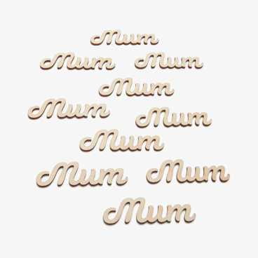 Wooden Mum Word Embellishments