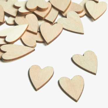 Wooden Primitive Heart Embellishments