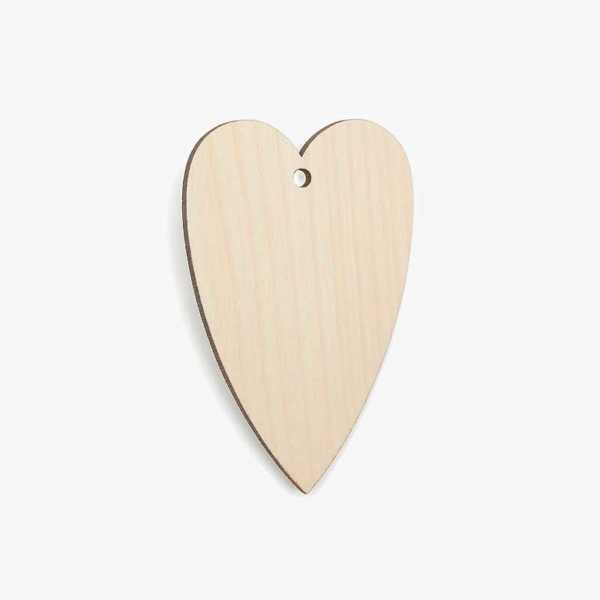 Wooden Birch Plywood Narrow Heart Craft Shape