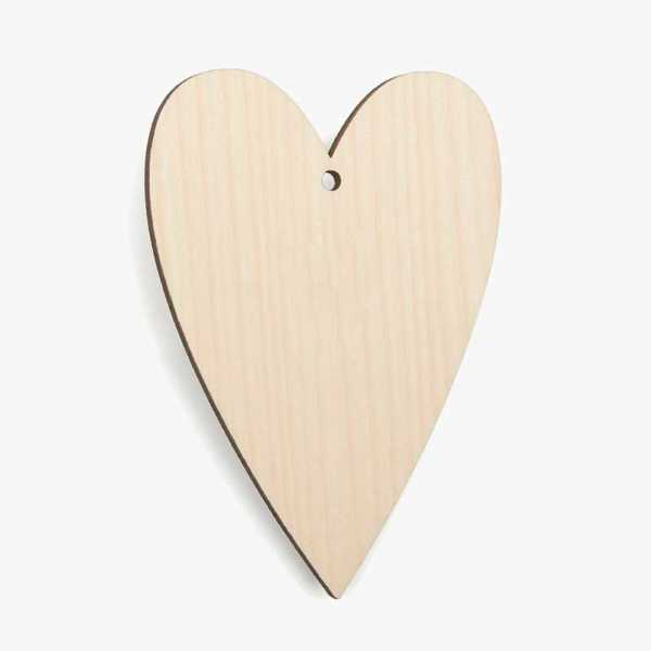 Wooden Birch Plywood Primitive Heart Craft Shape