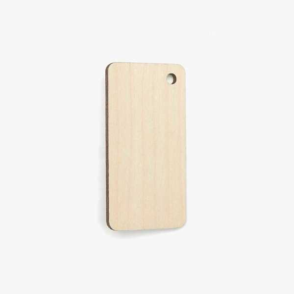 Wooden Rectangle Tag - Corner Hole