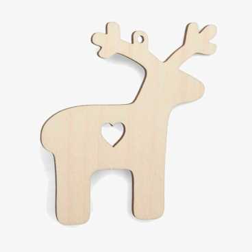 Wooden Nordic Reindeer Christmas Decoration Craft Shape