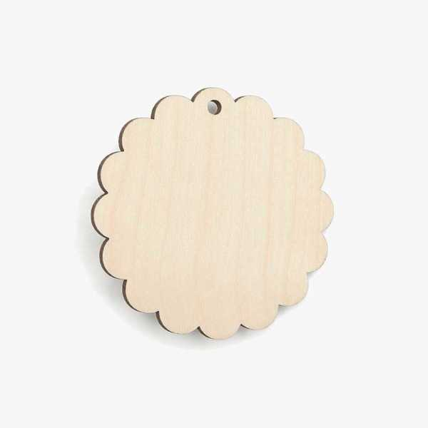Wooden Birch Plywood Scalloped Circle Craft Shape Blank
