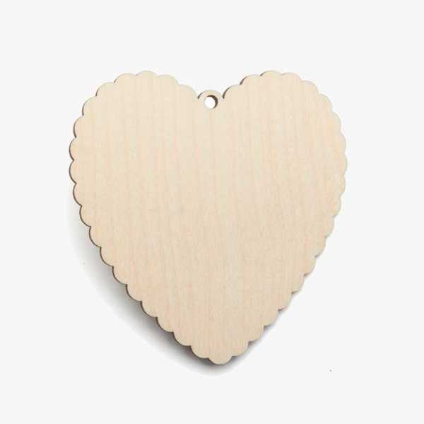 Wooden Birch Plywood Scalloped Heart Craft Shape