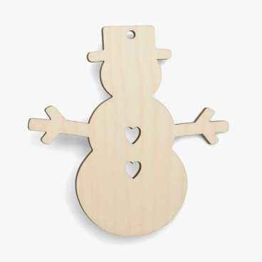 Wooden Snowman With Hearts Christmas Decoration Craft Shape