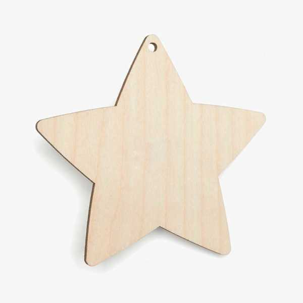 Wooden Birch Plywood Star With Hole Craft Shape