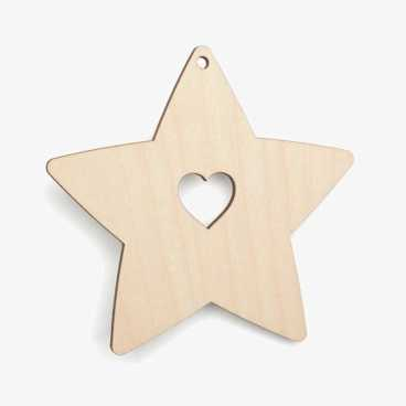 Wooden Birch Plywood Star With Heart Cutout Craft Shape