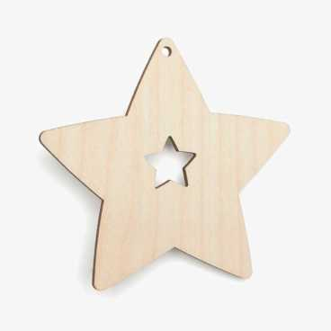 Wooden Birch Plywood Star With Star Cutout Craft Shape