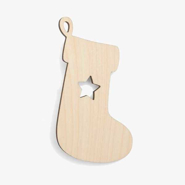 Wooden Stocking With Star Christmas Decoration Craft Shape