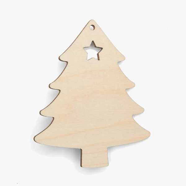 Wooden Tree With Star Christmas Decoration Craft Shape