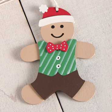 Wooden Gingerbread With Clothes Craft Kit