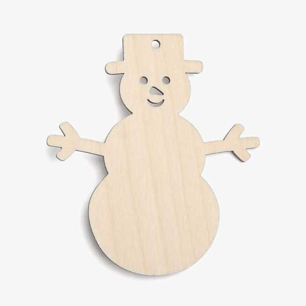 Wooden Snowman Shapes - With Face