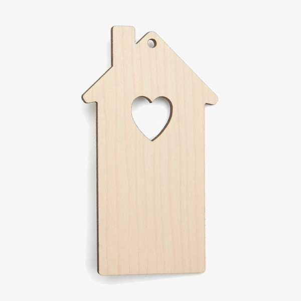 House Heart Wooden Craft Shapes Blanks