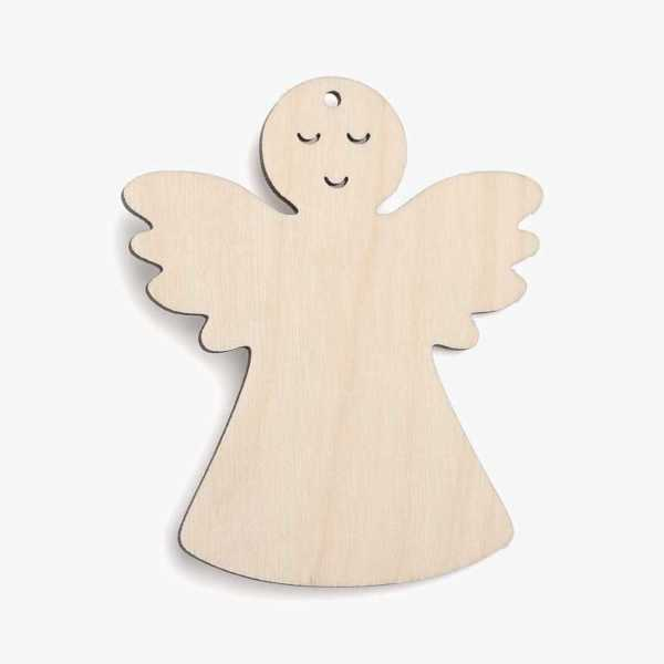 Wooden Angel With Face Christmas Decoration Craft Shape