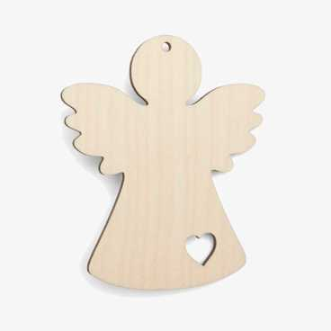 Wooden Angel With Heart Christmas Decoration Craft Shape
