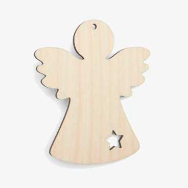 Wooden Angel With Star Christmas Decoration Craft Shape