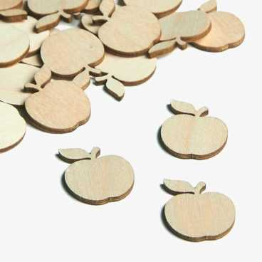 Wooden Apple Embellishments Small Mini Shapes