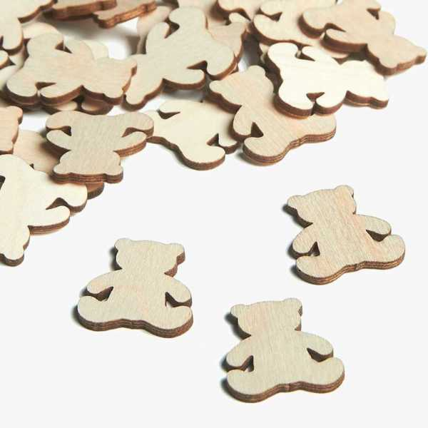 Wooden Bear Embellishments Small Mini Shapes