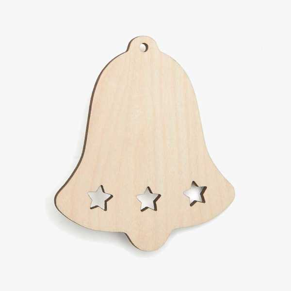 Wooden Bell Sith Stars Christmas Decoration Craft Shape