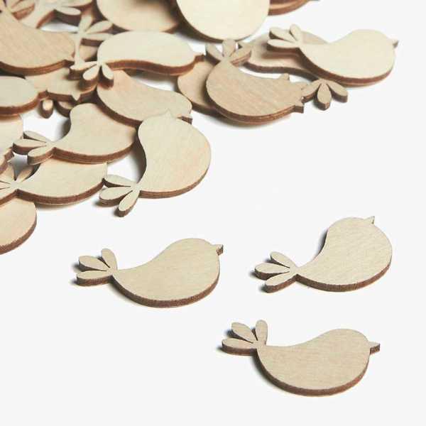 Wooden Bird Embellishments Small Mini Shapes