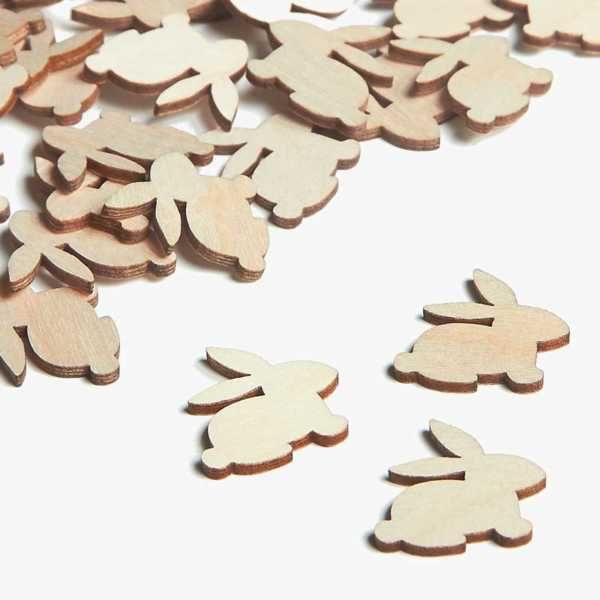 Wooden Bunny Embellishments Small Mini Shapes