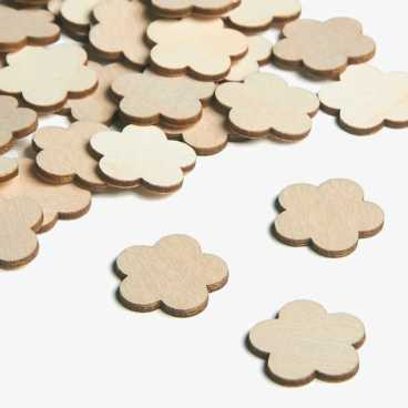 Wooden Buttercup Flower Embellishments Small Mini Shapes