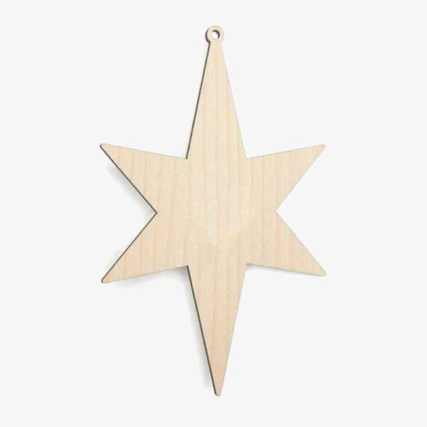 Wooden Christmas Star Decoration Craft Shape