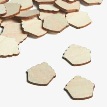 Wooden Cupcake Embellishments Small Mini Shapes
