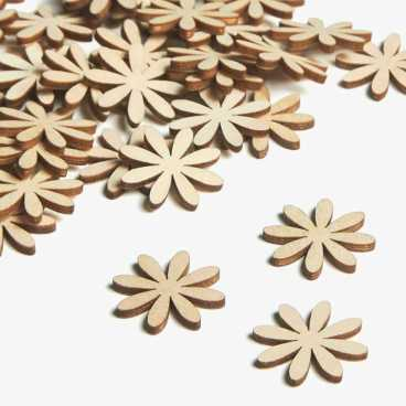 Wooden Daisy Flower Embellishments Small Mini Shapes
