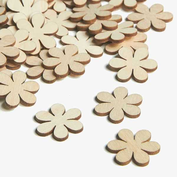 Wooden Flower Embellishments Small Mini Shapes