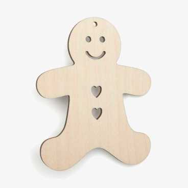 Wooden-Gingerbread-Christmas Craft Blank Shapes
